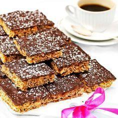 Havrerutor med täcke av smält choklad - Tidningen Hembakat