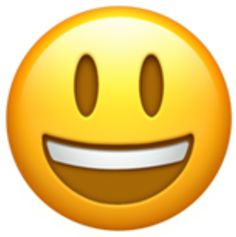 A classic smiley-face emoji with an open mouth showing teeth, and tall, open eyes. Differs only slightly from the Smiling Face With Open Mouth And Smiling Eyes Emoji by the fact that these eyes are tall ovals, instead of the emoji-style smiling eyes.