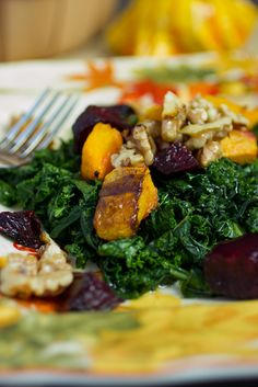Massaged Kale Salad with Butternut Squash and Beets Fall Harvest, Autumn, Massaged Kale Salad, Harvest Salad, Healthy Plate, Roasted Butternut Squash, Red Kitchen, Palak Paneer, Beets