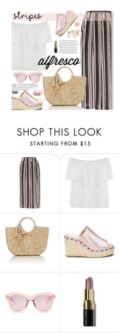 """""""Alfresco Dining: Yoins Graphic Striped Pants"""" by beebeely-look ❤ liked on Polyvore featuring Buji Baja, Karen Walker, Bobbi Brown Cosmetics, stripedpants, mules, strawbags, yoinscollection and alfrescodining"""