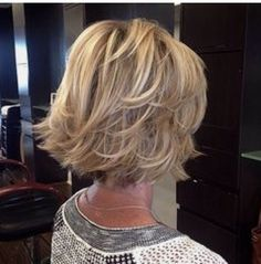 Long layered piecy shattered chin length bob More