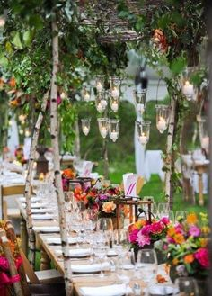 Loved the jewel coloured flowers and hanging tea lights