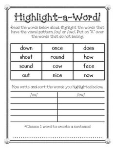 Highlight-a-Word /ou/ and /ow/ phonics activity: students highlight words with the spelling pattern and then sort/write them