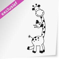 Giraffe met vogel - Dewiha Art - Muursjablonen en Muurstickers