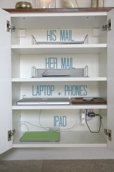 Not a bad idea for charging laptops and phones. I like that it is inside a cabinet and hidden away. Might have to do this someday. via Dana Miller over on wayfair.com