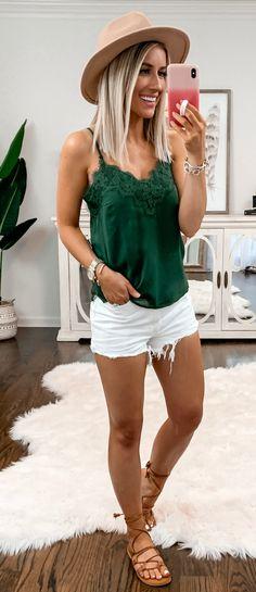 green cami shirt #summer #outfits