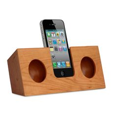 The Koostik Original in Cherry Wood - an eco friendly iPhone speaker that needs no power or batteries - just a very clever design! Hand made from 100% natural Cherry Wood in the USA.