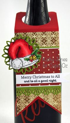 Inspired to Stamp: Festive Bottle Tag Merry Christmas To All, Christmas Wine, Christmas Cards, Xmas, Wine Bottle Tags, Wine Tags, Embossed Cards, Wine Glass Charms, Paper Tags