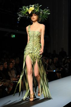 PARIS - JANUARY A model walks the runway at Jean-Paul Gaultier Haute Couture fashion show as part of the Paris Fashion Week Haute Couture S/S 2010 on January 2010 in Paris, France. (Photo by Dominique Charriau/WireImage) Floral Fashion, Fashion Art, Runway Fashion, Fashion Show, Fashion Dresses, Fashion Design, Jean Paul Gaultier, Paul Gaultier Spring, Fashion Week Paris