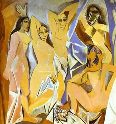 Cubism was a century avant-garde art movement, pioneered by Pablo Picasso and Georges Braque. This painting is Les Demoiselles D' Avignon by Picasso. Pablo Picasso, Kunst Picasso, Art Picasso, Picasso Paintings, Picasso Style, Art Paintings, Watercolor Paintings, Picasso Sketches, Picasso Drawing
