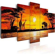 Cuadro elefantes y jirafas en África