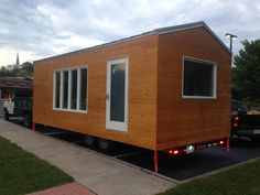 This beautiful, professionally built x tiny house on wheels boasts a modern, open, airy, and spacious floor plan. It features high end finishes & app. Small Tiny House, Modern Tiny House, Tiny House Cabin, Tiny Houses For Sale, Tiny House Plans, Tiny House On Wheels, House Layout Plans, House Layouts, Wheels For Sale