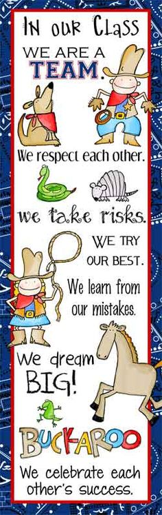 WESTERN Theme Classroom Decor / Character Education Banner / X-Large / In Our Class / JPEG / graphics by Lettering Delights / ARTrageous FUN