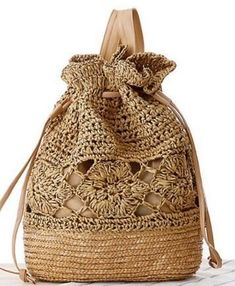 Summer Straw Backpack Floral Handmade Knitted 4 Colors