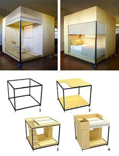 Tiny Zen Living: 8 Foot Square Mobile Cube Combines Office, Bed & Meditation : TreeHugger -This is pretty awesome haha i would totally use this lol Space Saving Furniture, Diy Furniture, Furniture Design, Small Space Living, Living Spaces, Mobile Living, Tiny Spaces, Office Bed, Sofa Design