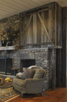 this barndoor covers the big screen TV. Great idea!