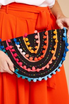 976622774a88 Stylish Black Multi Embroidered Clutch - Pom Pom Clutch - Bag - $36.00 –  Red Dress