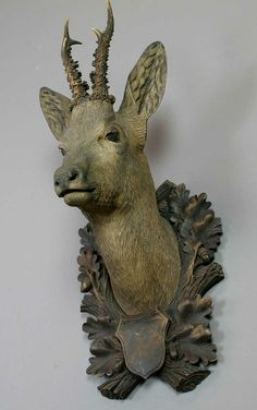 antique black forest carved wood roe buck head