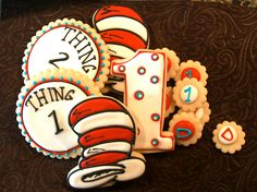 Dr. Seuss Party package - 24 full size cookies, 30 bite size, and free favor bags. $65.00, via Etsy.