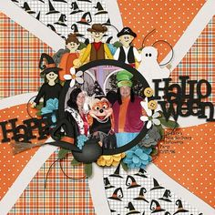 Layout: Happy Halloween by Zippyoh Template: Wavy Templates Reason CTM Loves: This layout has great work with patterned paper - building an energetic background that isn't overwhelming. She has really fun clustering around the photo - with costumed Halloween people around the edge. And I love the title work with that black alpha.