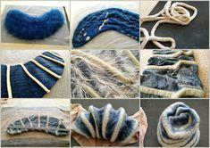 Wet Felting, Needle Felted, Wool Felt Fabric, Fabric Art, Felted Wool Crafts, Felt Crafts, Clay Crafts, Shibori, Felt Play Mat