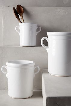 "Bianca Utensil Jar #anthropologie - The Large size Crock is really big at 8.75"" H and 7.5"" in diameter."