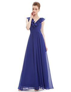 Ever Pretty Floor Length Homecoming Dress Sapphire Blue Chiffon Cocktail Dress 12 US *** Click for Special Deals  #CocktailDresses