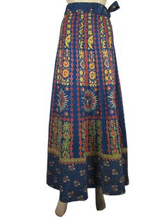 Boho Wrap Around Skirt Dark Blue Sun Moon Printed Long Gypsy Wrap Skirt 40"