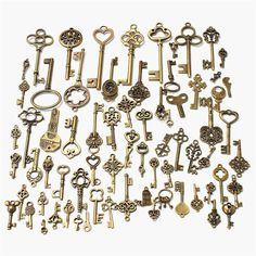 New Set of 70 Antique Retro Vintage Old Look Bronze Keys Fancy Heart Bow Necklace Pendant Metal Craft DIY Handmade Collection