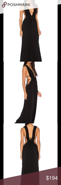 """Titanium Cutout Maxi Dress INDAH is known for its vibrant colors and innovative designs that root itself in a life of adventure. This is such a sexy dress!   100% rayon Hand wash cold Fully lined Pleated detail Bodice cut-outs with drawstring and tie closure Shoulder seam to hem measures approx 58"""" Color – Black Indah Dresses Maxi"""