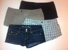 LOT FOUR PAIR OF AE AMERICAN EAGLE SHORTS Womens SIZE 4 Denim Black Plaid Green - SOLD