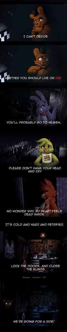 Five nights at Freddy's<< I wonder how many people pinned this without knowing that what their saying is I can't decide by scissor sisters. YAAY ME this song is how i got obsessed with fnaf Five Nights At Freddy's, Fnaf 1, Anime Fnaf, Freddy S, Creepypasta, Life Is Strange, Foxy And Mangle, Scissor Sisters, Scary Games