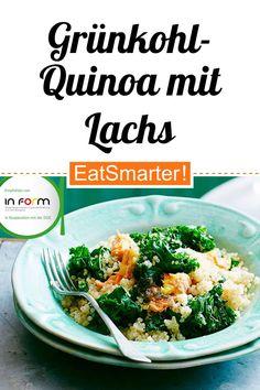 Grünkohl-Quinoa mit Lachs - smarter - Kalorien: 379 kcal - Zeit: 40 Min. | eatsmarter.de Superfood, Veggies, Meals, Healthy, Ethnic Recipes, Eat Smarter, Form, Clean Eating, Kale Recipes