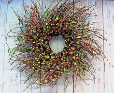 Hey, I found this really awesome Etsy listing at https://www.etsy.com/listing/187482455/spring-wreath-spring-pip-berry-wreath