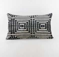 """Ikat velvet  pillow, silk cousin from Uzbekistan ,60x36 cm, 24x14"""", Cotton back with Zip closure, Dry cleaning, Decorative pillow. by KAUWA on Etsy https://www.etsy.com/uk/listing/566795371/ikat-velvet-pillow-silk-cousin-from"""