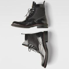 Brogue boots crafted from supple, durable leather with suede panels for a rich textural contrast. Fashion Details, Boho Fashion, Fashion Shoes, Mens Fashion, Raw Denim, Cool Boots, Brogues, Me Too Shoes, Black Leather