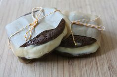 Chocolate cookie and salted caramel ice cream sandwiches