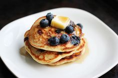 I had pancakes three days in a row now. They're amazing. #food #blueberries