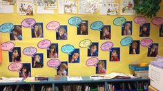 "Bulletin board of 1st and 2nd graders and their ""wonders"" in preparation for their Genius Hour projects."