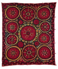 a Pskent Suzani, Central Asia, Uzbekistan, 243 x 213 cm, second half 19th century, Antique tribal rugs at Rippon Boswell 30 November