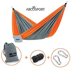 Camping Hammock - Portable Double Strong Nylon Parachute for Traveling, Hiking, Backpacking, Climbing & Outdoor Sleeping - Lightweight - Hammock Straps & Steel Carabiners Included - Easy to Install. Abco Tech http://www.amazon.com/dp/B01BCSRAOW/ref=cm_sw_r_pi_dp_dCsSwb144DR1D