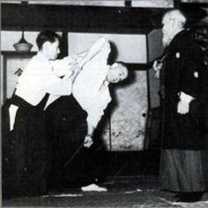 Kisshomaru Ueshiba and Andre Nocquet under the guidance of Morihei Ueshiba