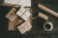 "pureblyss:  ""Brown paper packages tied up with striiiiing…"" (which reminds me. 98 days till Christmas. boom.)"