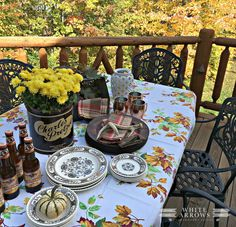 fall outdoor dining, autumn pacesetting, charles chips, transfer ware,