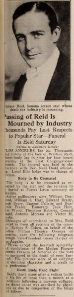 Feb 1923 Exhibitors Herald noting the passing of silent film star Wallace Reid a few weeks earlier