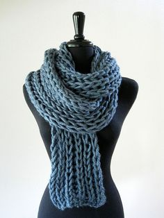 Morning Sky Blue Gray Color Handknitted Chunky Winter Unisex  Scarf