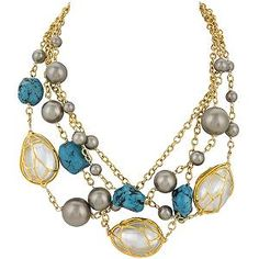 Alexis Bittar 4 Strand Pearl Cage Necklace