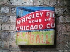 Wrigley Field Chicago Cubs baseball sign original by geministudio, $80.00  my hubby likes this!