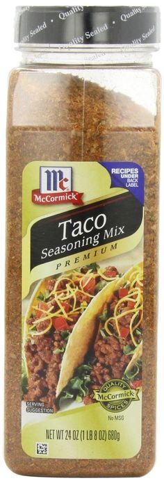 McCormick Premium Taco Seasoning 24 oz for sale online Taco Pizza Recipes, Gourmet Recipes, Mexican Food Recipes, Beef Recipes, Healthy Recipes, Hamburger Recipes, Mexican Dishes, Healthy Food, Healthy Eating