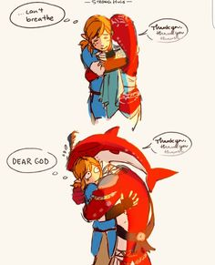 By teandstars on Tumblr. Sidon and Link.